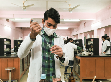 college student in lab